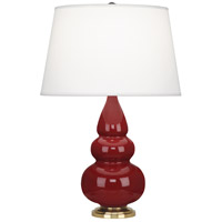 Small Triple Gourd 24 inch 150 watt Oxblood with Antique Natural Brass Table Lamp Portable Light