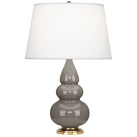 Small Triple Gourd 24 inch 150 watt Smoky Taupe with Antique Natural Brass Table Lamp Portable Light in Smokey Taupe