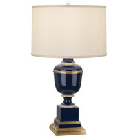 Mary McDonald Annika 30 inch 150 watt Cobalt with Natural Brass and Ivory Crackle Table Lamp Portable Light in Cobalt Lacquered Paint, Cloud Cream Silk