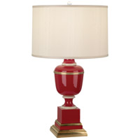 Robert Abbey 2501X Annika 30 inch 150 watt Red Lacquer with Ivory Crackle and Natural Brass Table Lamp Portable Light in Cloud Cream Silk