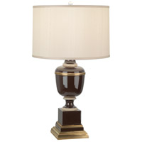 Robert Abbey 2502X Annika 30 inch 150 watt Chocolate with Ivory Crackle and Natural Brass Table Lamp Portable Light in Cloud Cream Silk