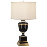 Robert Abbey 2503X Annika 30 inch 150 watt Black Lacquer with Ivory Crackle and Natural Brass Table Lamp Portable Light in Cloud Cream Silk