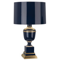 Mary McDonald Annika 24 inch 60 watt Cobalt with Natural Brass and Ivory Crackle Table Lamp Portable Light in Cobalt Lacquered Paint, Cobalt Painted Parchment