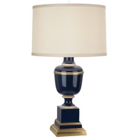 Mary McDonald Annika 24 inch 60 watt Cobalt and Natural Brass with Ivory Crackle Table Lamp Portable Light in Cobalt Lacquered Paint, Cloud Cream Silk