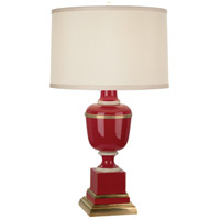 Robert Abbey 2505X Annika 24 inch 60 watt Red with Natural Brass and Ivory Crackle Accent Lamp Portable Light in Cloud Cream Silk