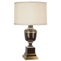 Robert Abbey 2506X Annika 24 inch 60 watt Chocolate with Ivory Crackle and Natural Brass Accent Lamp Portable Light in Cloud Cream Silk