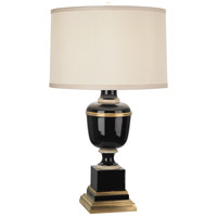 Robert Abbey 2507X Annika 24 inch 60 watt Black Lacquer with Ivory Crackle and Natural Brass Accent Lamp Portable Light in Cloud Cream Silk