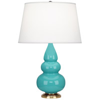 Robert Abbey 252X Small Triple Gourd 24 inch 150 watt Egg Blue Accent Lamp Portable Light in Antique Brass