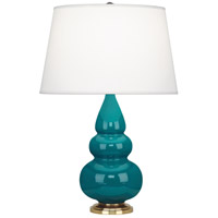Small Triple Gourd 24 inch 150 watt Peacock with Antique Natural Brass Table Lamp Portable Light