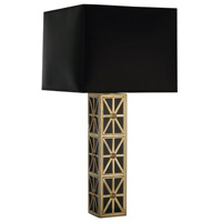 Mary McDonald Directoire 32 inch 150 watt Antique Brass w/ Black Glass Table Lamp Portable Light in Mont Blanc Parchment