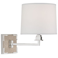 Mary McDonald Spence 13 inch 100 watt Ecru Faux Ostrich Leather w/ Silver Plate Swing Lamp Wall Light