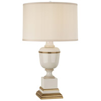 Robert Abbey 2601X Annika 30 inch 150 watt Ivory Lacquer with Ivory Crackle and Natural Brass Table Lamp Portable Light in Cloud Cream Silk