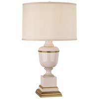 Annika 30 inch 150 watt Blush Lacquer with Ivory Crackle and Natural Brass Table Lamp Portable Light in Cloud Cream Silk