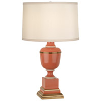 Robert Abbey 2603X Annika 24 inch 60 watt Tangerine and Natural Brass with Ivory Crackle Accent Lamp Portable Light in Cloud Cream Silk