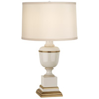 Robert Abbey 2604X Annika 24 inch 60 watt Ivory Lacquer with Ivory Crackle and Natural Brass Accent Lamp Portable Light in Cloud Cream Silk