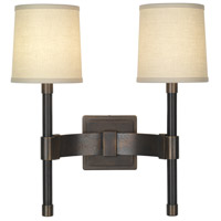 Robert Abbey Binary 2 Light Wall Lamp in Dark Brass Natural Metal 2703