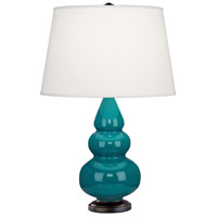 Small Triple Gourd 24 inch 150 watt Peacock with Deep Patina Bronze Table Lamp Portable Light