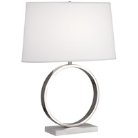 Logan 25 inch 150 watt Polished Nickel / Carrera Marble Table Lamp Portable Light in Ascot White Fabric