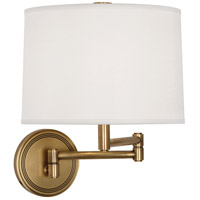 Robert Abbey 2824 Sofia 12 inch 100 watt Antique Brass Wall Swinger Wall Light in White Linen