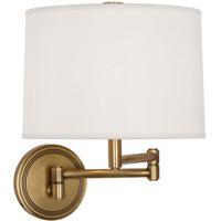 Robert Abbey 2824 Sofia 12 inch 100 watt Antique Brass Wall Swinger Wall Light in White Linen