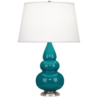 Robert Abbey 293X Small Triple Gourd 24 inch 150 watt Peacock Accent Lamp Portable Light in Antique Silver