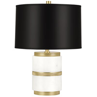 Wyatt 19 inch 100 watt Alabaster Stone and Modern Brass Table Lamp Portable Light in Black Parchment, Modern Brass Accents