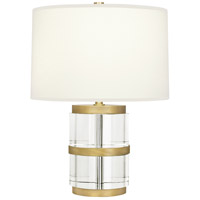 Wyatt 19 inch 100 watt Modern Brass Table Lamp Portable Light in Fondine Fabric, Clear Glass