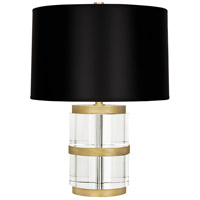 Wyatt 19 inch 100 watt Modern Brass Table Lamp Portable Light in Black Parchment, Clear Glass