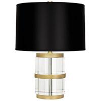 Robert Abbey 298B Wyatt 19 inch 100 watt Clear Crystal and Modern Brass Accent Lamp Portable Light in Black Paper