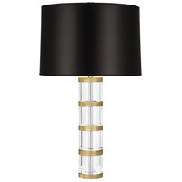 Wyatt 29 inch 150 watt Modern Brass Table Lamp Portable Light in Black Parchment, Clear Glass