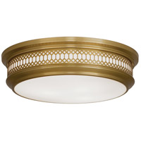 Robert Abbey 307 Williamsburg Tucker 3 Light 15 inch Antique Brass Flushmount Ceiling Light
