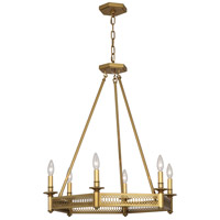 Robert Abbey 308 Williamsburg Tucker 6 Light 27 inch Antique Brass Chandelier Ceiling Light