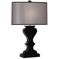 Robert Abbey 311B Williamsburg Dunmore 29 inch 100 watt Black Lead Crystal with Polished Nickel Table Lamp Portable Light in Black Organza