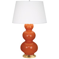 Robert Abbey 312X Triple Gourd 33 inch 150 watt Pumpkin Table Lamp Portable Light in Antique Brass