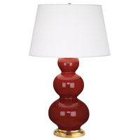 Robert Abbey 315X Triple Gourd 33 inch 150 watt Oxblood Table Lamp Portable Light in Antique Brass