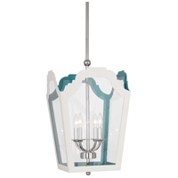Robert Abbey 317 Williamsburg Tayloe 4 Light 15 inch Polished Nickel with White and Turquoise Pendant Ceiling Light in Painted White/Turquoise