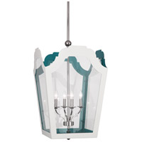 Robert Abbey 318 Williamsburg Tayloe 4 Light 20 inch Polished Nickel with White and Turquoise Pendant Ceiling Light in Painted White/Turquoise