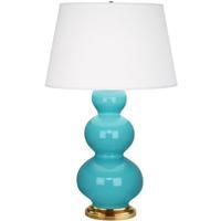 Robert Abbey 322X Triple Gourd 33 inch 150 watt Egg Blue Table Lamp Portable Light in Antique Brass