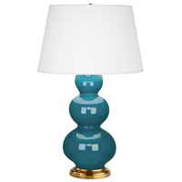 Robert Abbey 323X Triple Gourd 33 inch 150 watt Peacock Table Lamp Portable Light in Antique Brass