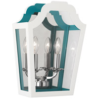 Robert Abbey 325 Williamsburg Tayloe 2 Light 10 inch Polished Nickel Wall Sconce Wall Light in White And Turquoise