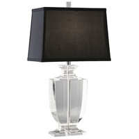 Robert Abbey 3324B Artemis 25 inch 150 watt Clear Lead Crystal with Silver Plate Table Lamp Portable Light in Black Dupioni