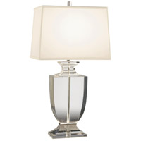 Robert Abbey 3324W Artemis 25 inch 150 watt Clear Lead Crystal with Silver Plate Table Lamp Portable Light in Off-White Dupioni