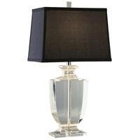 Robert Abbey 3329B Artemis 21 inch 60 watt Clear Crystal with Silver Plate Accent Lamp Portable Light in Black Dupioni