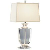 Robert Abbey 3329W Artemis 21 inch 60 watt Clear Crystal with Silver Plate Accent Lamp Portable Light in Off-White Dupioni