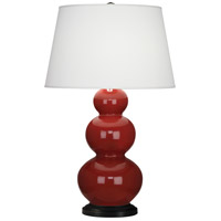 Triple Gourd 33 inch 150 watt Oxblood with Deep Patina Bronze Table Lamp Portable Light