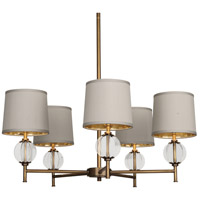 Latitude 5 Light 31 inch Aged Brass Chandelier Ceiling Light in Oyster Grey Silk