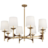 Robert Abbey 3396 Trigger 8 Light 42 inch Modern Brass with Walnut Wood Chandelier Ceiling Light in Antique Brass