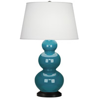 Robert Abbey 343X Triple Gourd 33 inch 150 watt Peacock Table Lamp Portable Light in Deep Patina Bronze