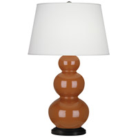 Cinnamon Ceramic Triple Gourd Table Lamps