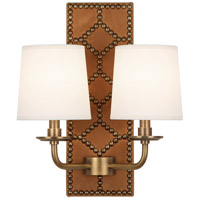 Robert Abbey 350 Williamsburg Lightfoot 2 Light 14 inch English Ochre Leather and Aged Brass Wall Sconce Wall Light